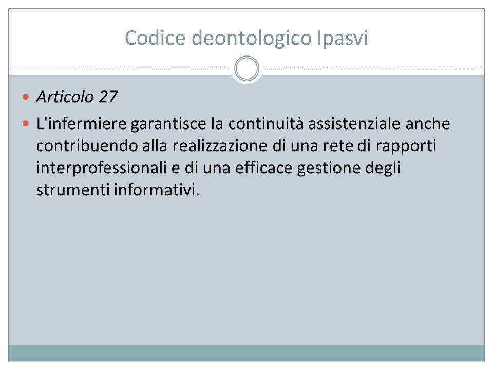 Codice deontologico Ipasvi Articolo 27 L'infermiere garantisce la continuità assistenziale anche contribuendo alla realizzazione di una rete di rappor