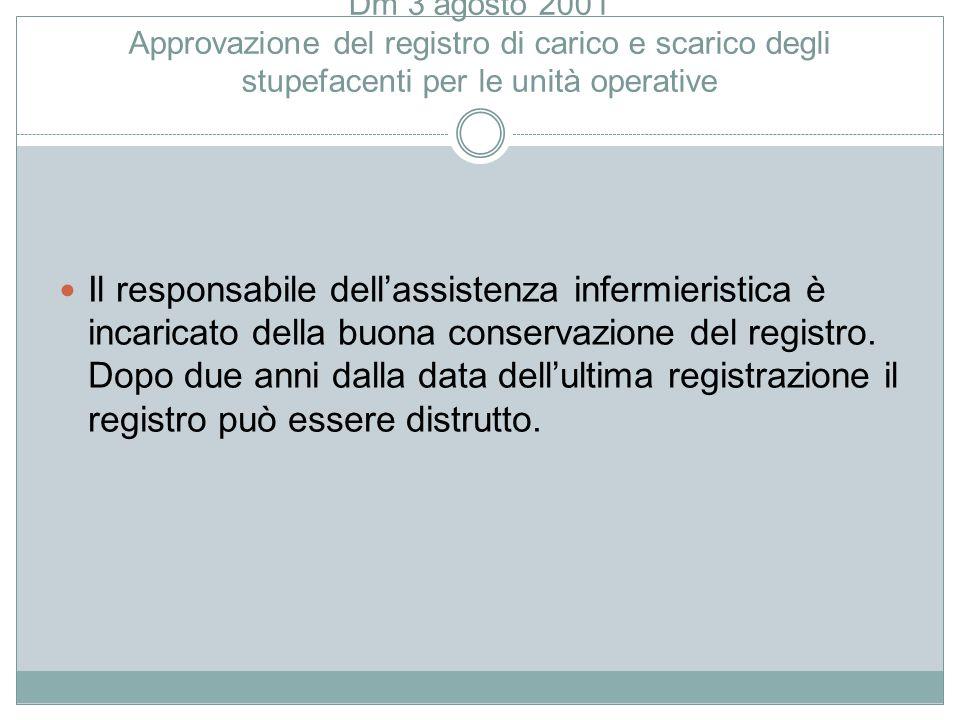 Dm 3 agosto 2001 Approvazione del registro di carico e scarico degli stupefacenti per le unità operative Il responsabile dell'assistenza infermieristi