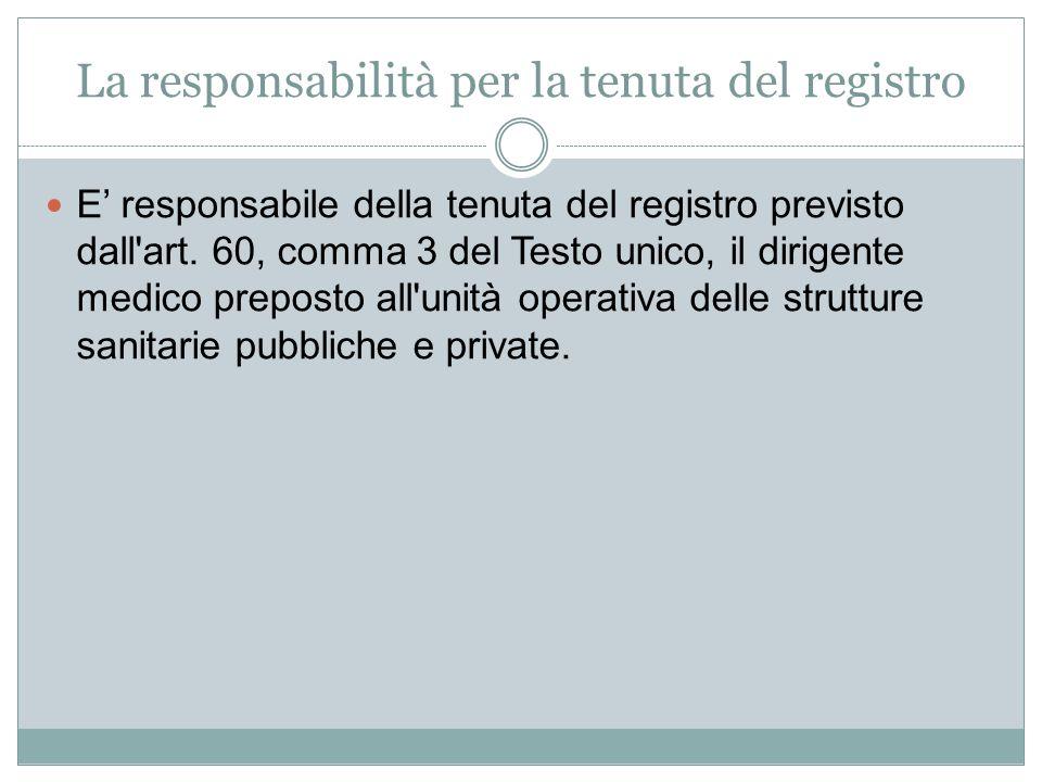 La responsabilità per la tenuta del registro E' responsabile della tenuta del registro previsto dall'art. 60, comma 3 del Testo unico, il dirigente me