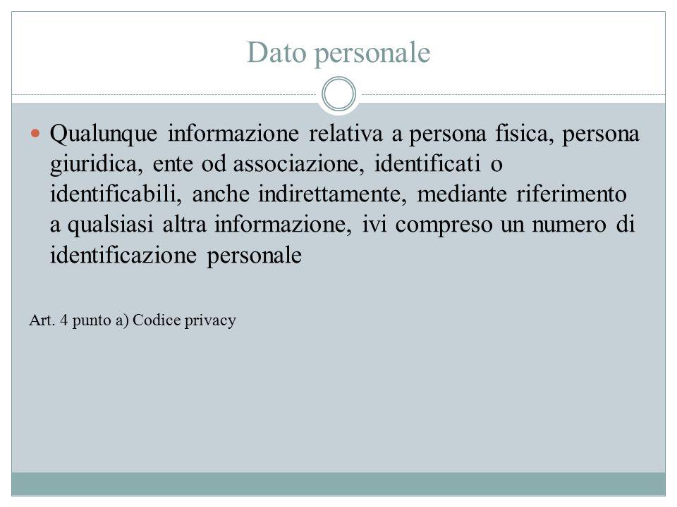 Dato personale Qualunque informazione relativa a persona fisica, persona giuridica, ente od associazione, identificati o identificabili, anche indiret