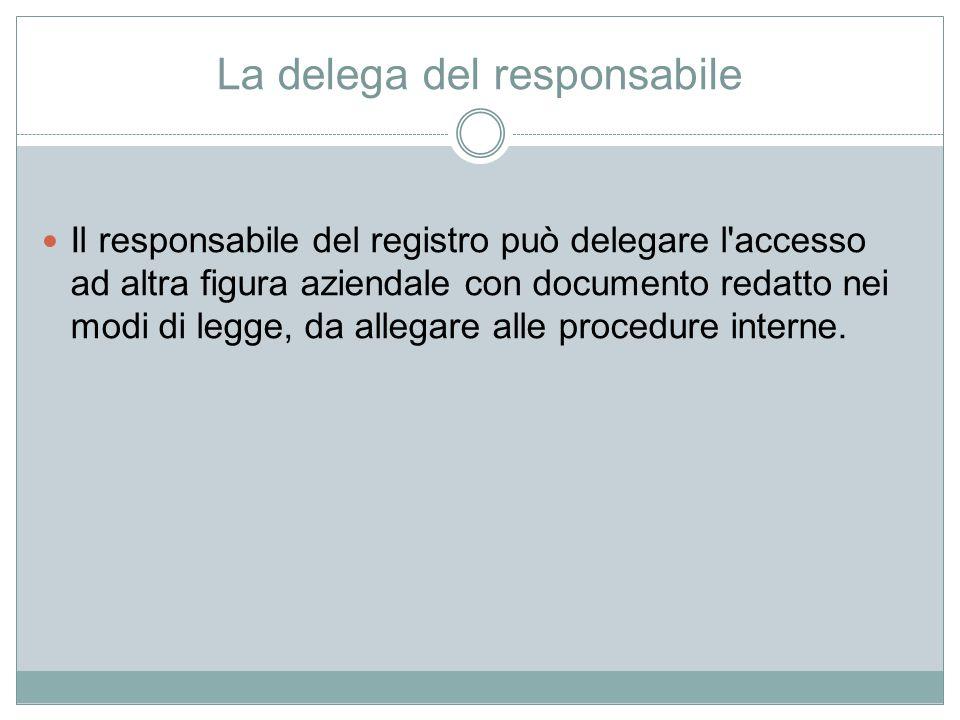 La delega del responsabile Il responsabile del registro può delegare l'accesso ad altra figura aziendale con documento redatto nei modi di legge, da a