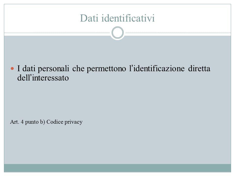 Dati identificativi I dati personali che permettono l'identificazione diretta dell'interessato Art. 4 punto b) Codice privacy