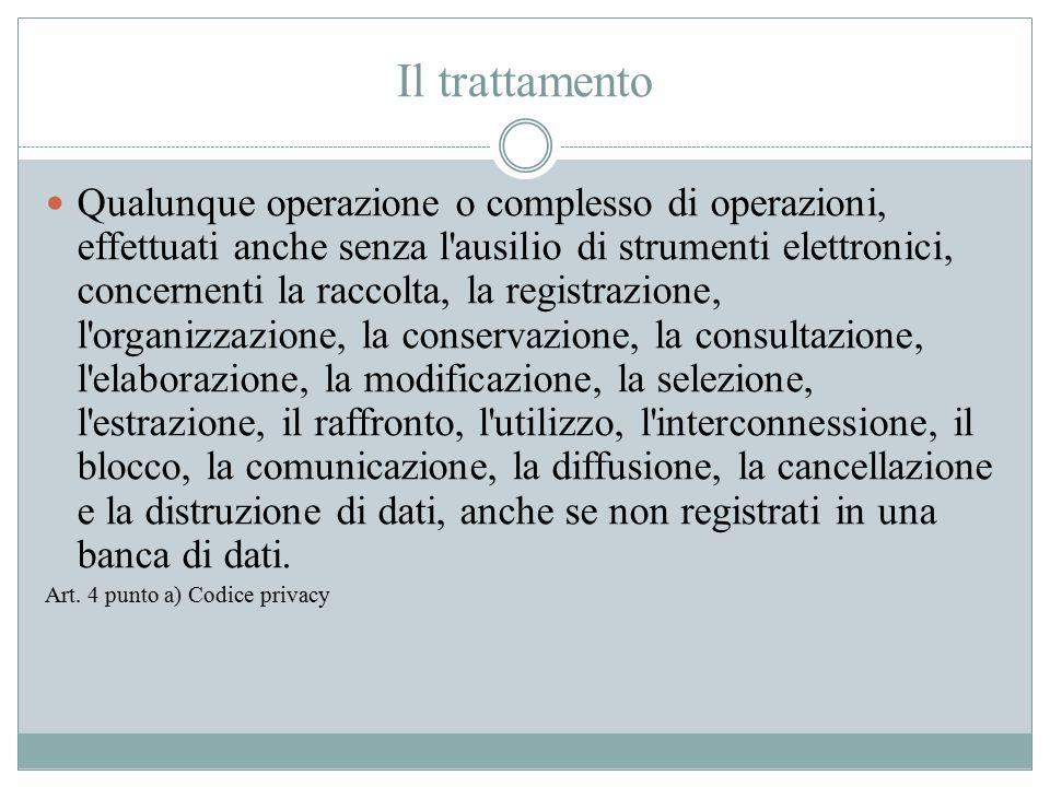 Il trattamento Qualunque operazione o complesso di operazioni, effettuati anche senza l'ausilio di strumenti elettronici, concernenti la raccolta, la