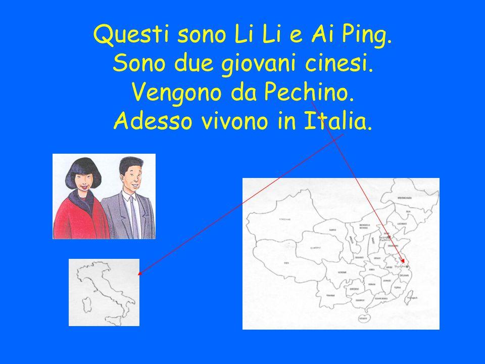 Questi sono Li Li e Ai Ping. Sono due giovani cinesi. Vengono da Pechino. Adesso vivono in Italia.