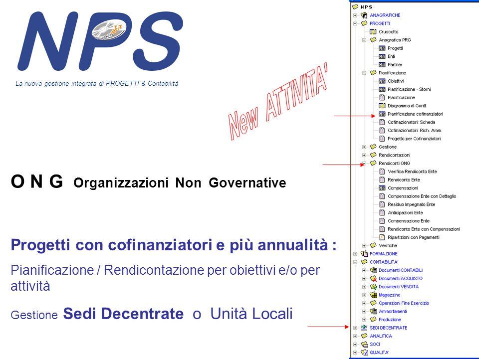 O N G Organizzazioni Non Governative Progetti con cofinanziatori e più annualità : Pianificazione / Rendicontazione per obiettivi e/o per attività Ges
