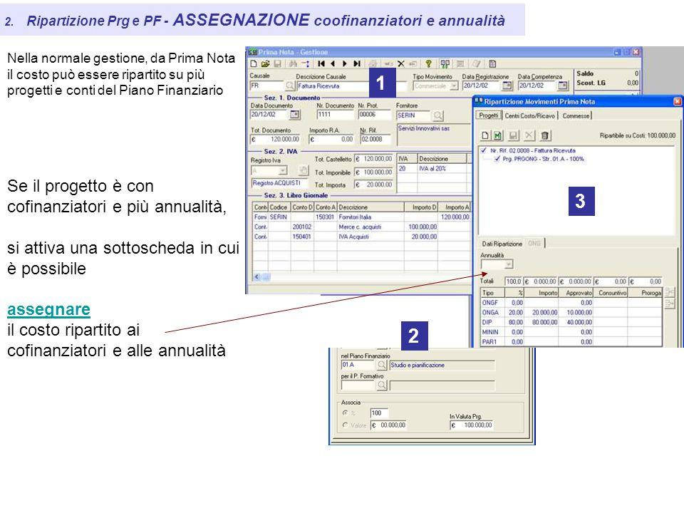 2. Ripartizione Prg e PF - ASSEGNAZIONE coofinanziatori e annualità Nella normale gestione, da Prima Nota il costo può essere ripartito su più progett