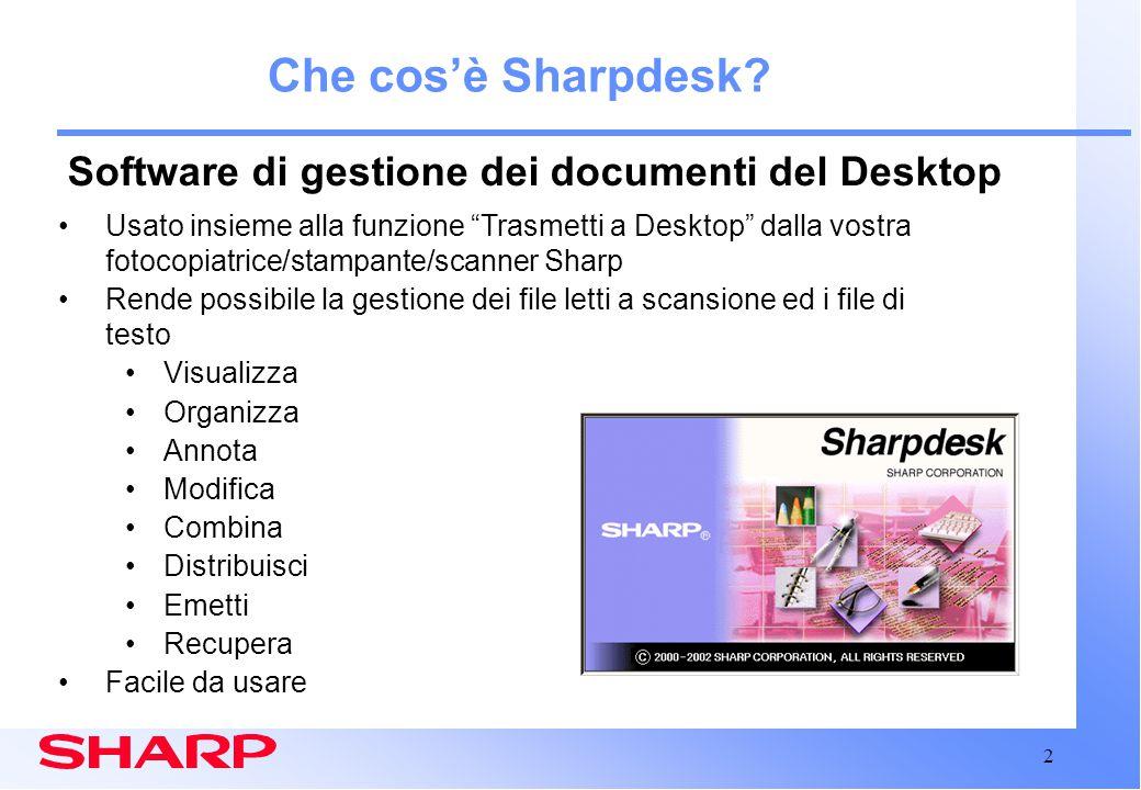 3 Sharpdesk: Elementi del Desktop Invia Salva Visualizza Modifica Componi Emetti