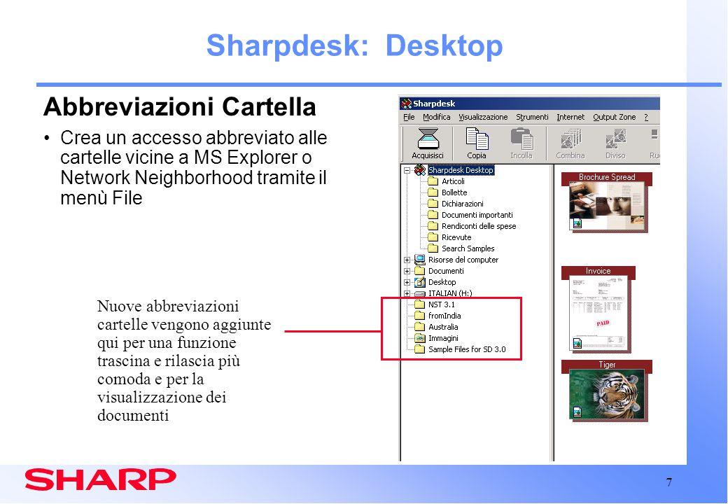 8 Sharpdesk: OCR Motore OCR nuovo e migliorato Maggior accuratezza nel riconoscimento delle parole Miglior mantenimento della formattazione Benefici: Riduzione del tempo di correzione dei file convertiti tramite OCR Facile riproposizione dei documenti Ricerche più accurate dei testi completi nelle immagini