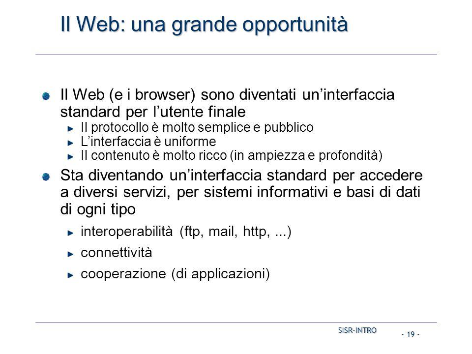 SISR-INTRO SISR-INTRO - 19 - Il Web: una grande opportunità Il Web (e i browser) sono diventati un'interfaccia standard per l'utente finale Il protocollo è molto semplice e pubblico L'interfaccia è uniforme Il contenuto è molto ricco (in ampiezza e profondità) Sta diventando un'interfaccia standard per accedere a diversi servizi, per sistemi informativi e basi di dati di ogni tipo interoperabilità (ftp, mail, http,...) connettività cooperazione (di applicazioni)
