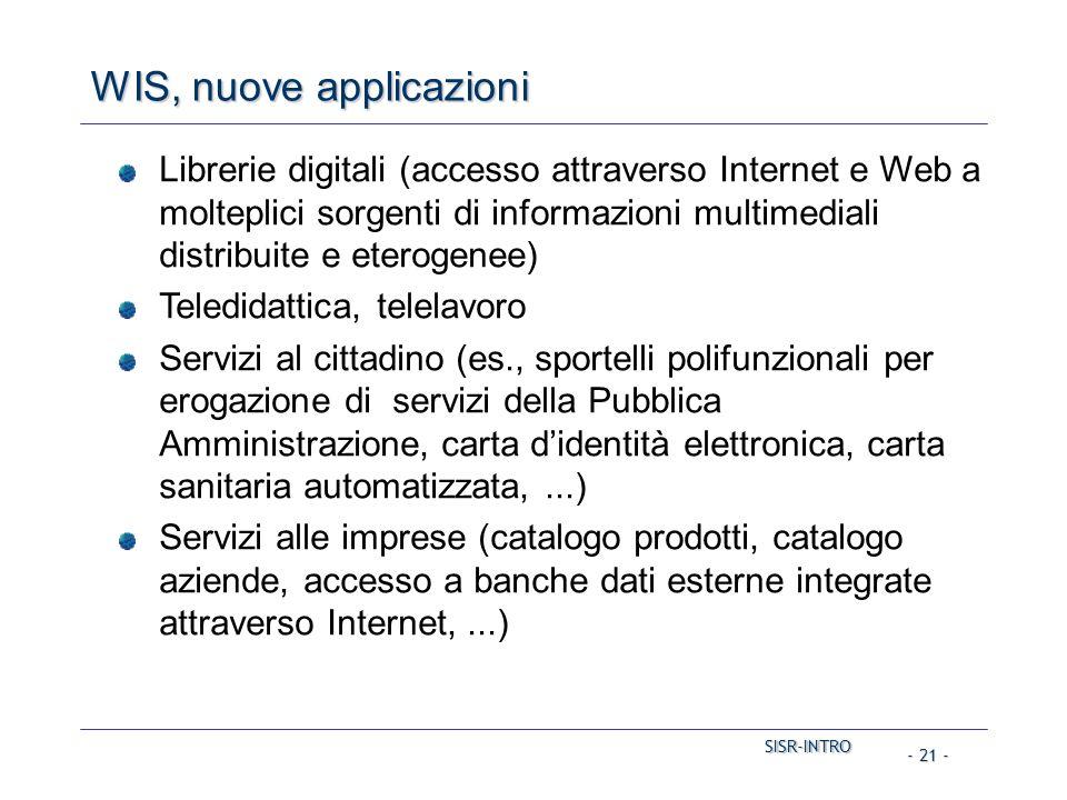 SISR-INTRO SISR-INTRO - 21 - WIS, nuove applicazioni Librerie digitali (accesso attraverso Internet e Web a molteplici sorgenti di informazioni multim