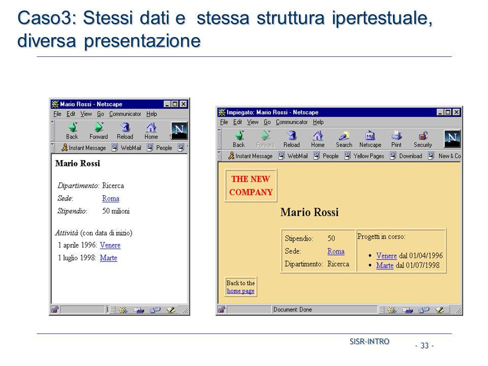 SISR-INTRO SISR-INTRO - 33 - Caso3: Stessi dati e stessa struttura ipertestuale, diversa presentazione