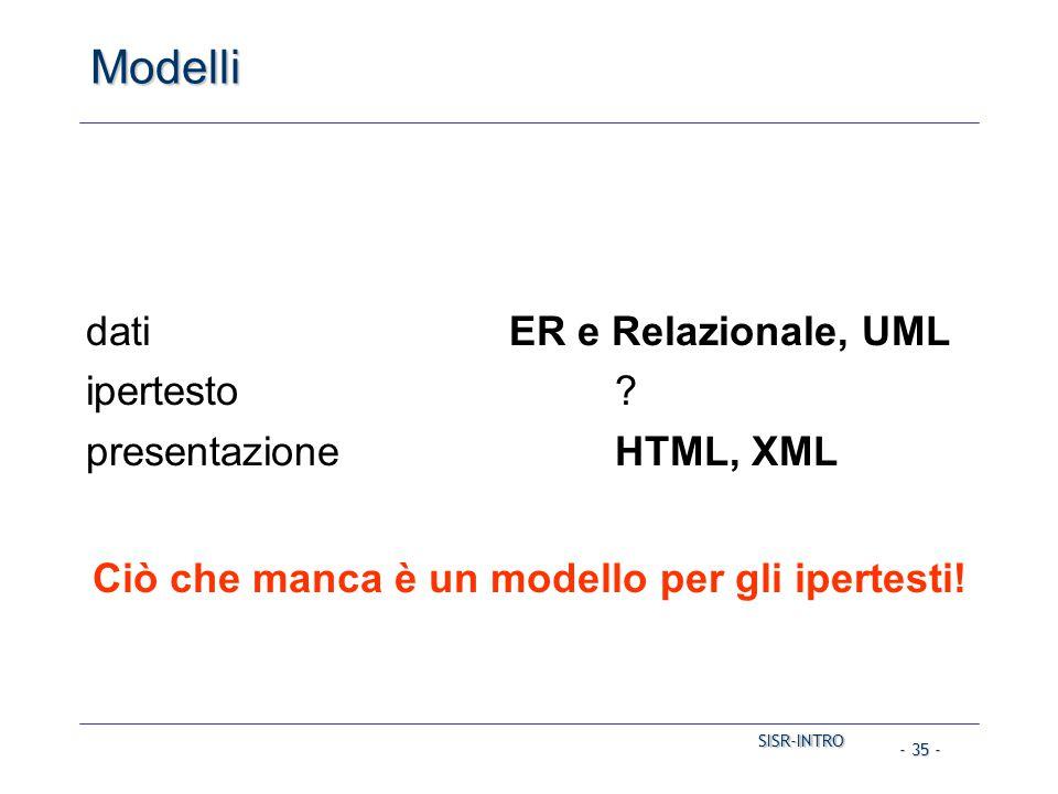 SISR-INTRO SISR-INTRO - 35 - Modelli datiER e Relazionale, UML ipertesto? presentazioneHTML, XML Ciò che manca è un modello per gli ipertesti!