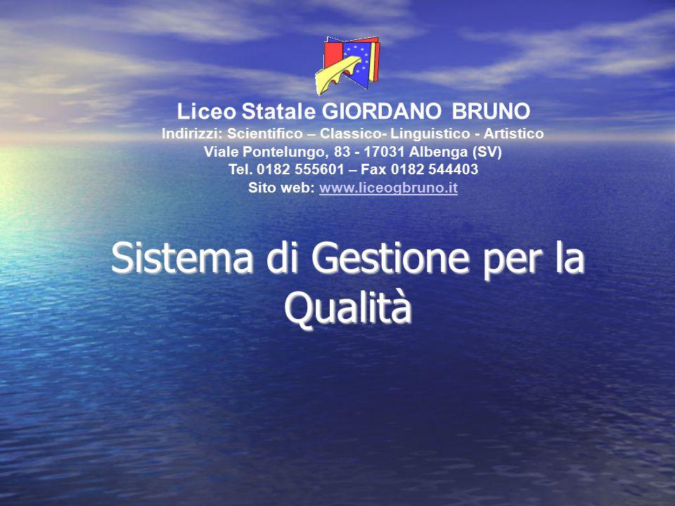 Sistema di Gestione per la Qualità Liceo Statale GIORDANO BRUNO Indirizzi: Scientifico – Classico- Linguistico - Artistico Viale Pontelungo, 83 - 1703