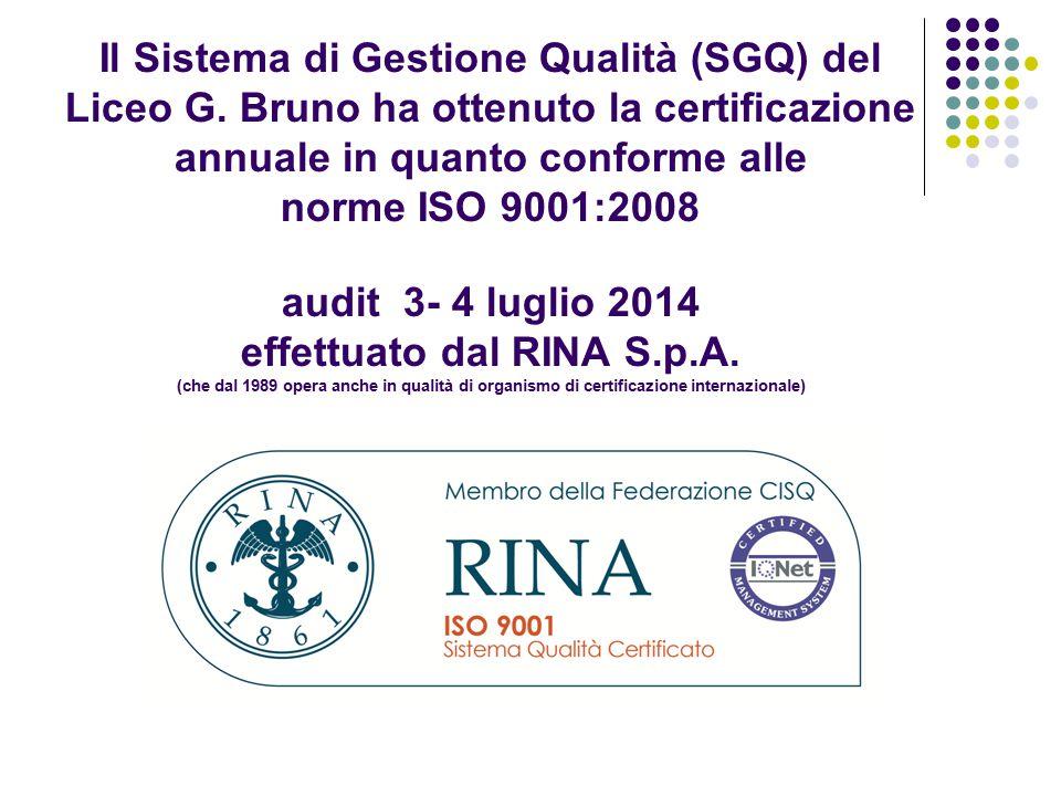 Il Sistema di Gestione Qualità (SGQ) del Liceo G. Bruno ha ottenuto la certificazione annuale in quanto conforme alle norme ISO 9001:2008 audit 3- 4 l