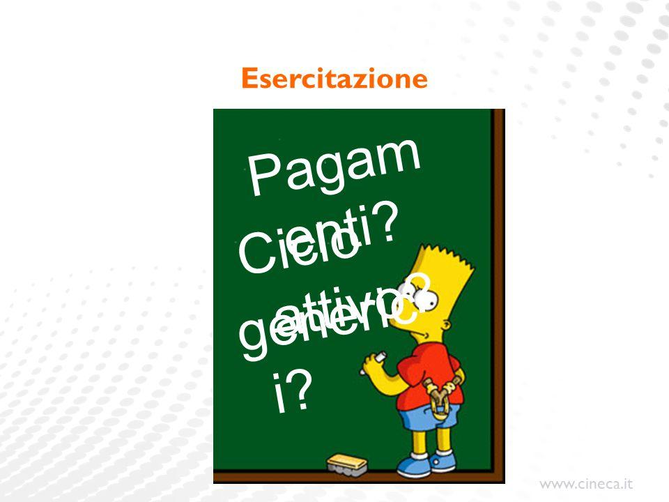 www.cineca.it Esercitazione generic i? Ciclo attivo? Pagam enti?
