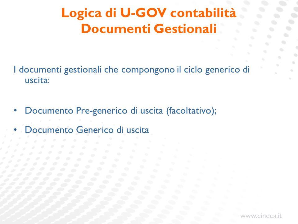 www.cineca.it I documenti gestionali che compongono il ciclo generico di uscita: Documento Pre-generico di uscita (facoltativo); Documento Generico di