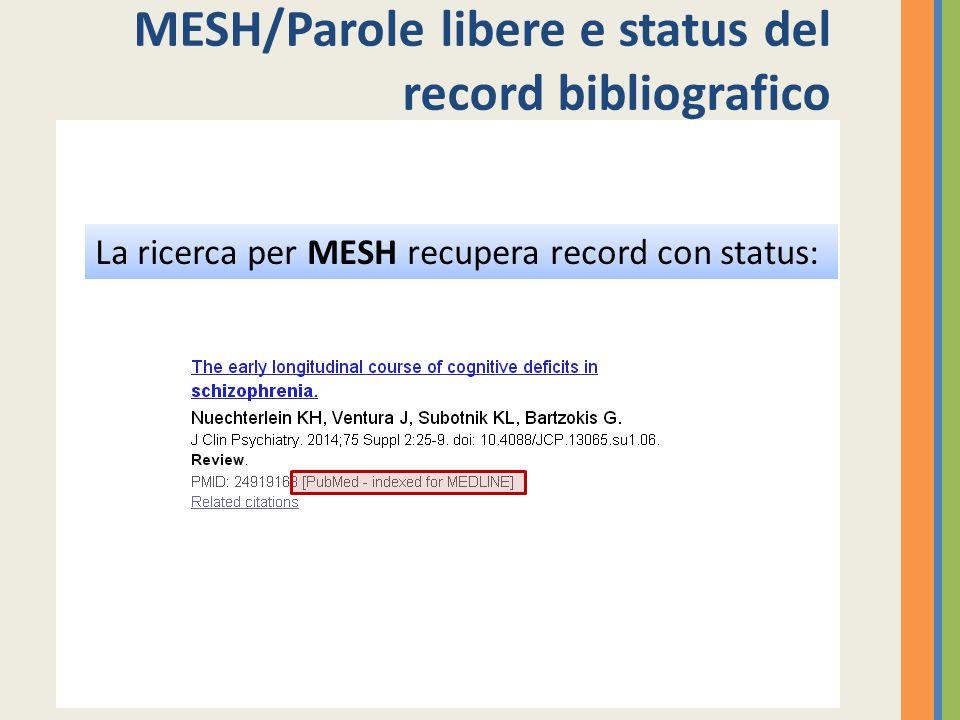 MESH/Parole libere e status del record bibliografico La ricerca per MESH recupera record con status: