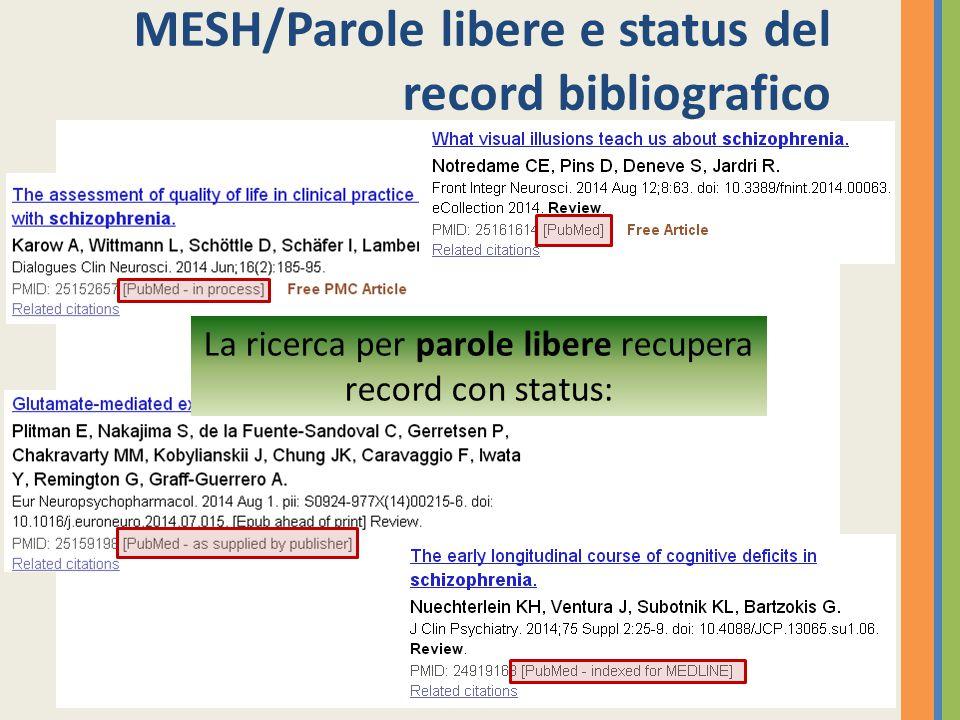 MESH/Parole libere e status del record bibliografico La ricerca per parole libere recupera record con status: