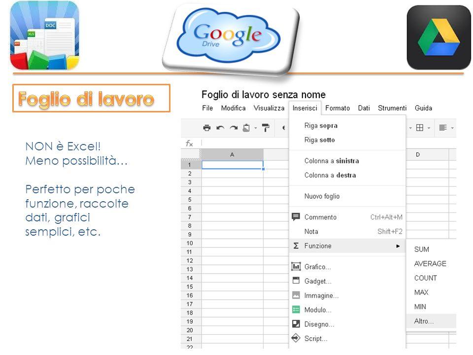 NON è Excel! Meno possibilità… Perfetto per poche funzione, raccolte dati, grafici semplici, etc.