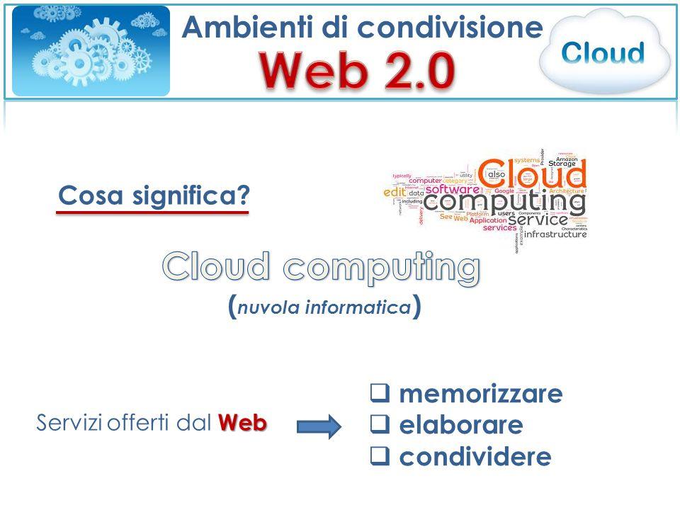 Cosa significa Web Servizi offerti dal Web  memorizzare  elaborare  condividere