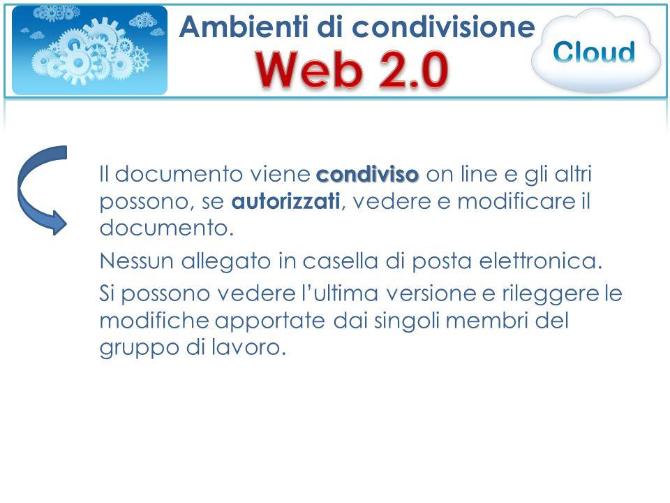 Ambienti di condivisione condiviso Il documento viene condiviso on line e gli altri possono, se autorizzati, vedere e modificare il documento. Nessun