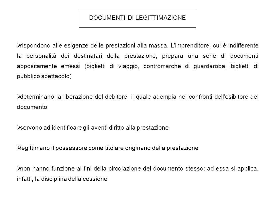DOCUMENTI DI LEGITTIMAZIONE IN SENSO PROPRIO CONTRASSEGNI l'individuazione dell'avente diritto alla prestazione può avvenire indipendentemente dal possesso del documento, contrassegno di legittimazione (es.
