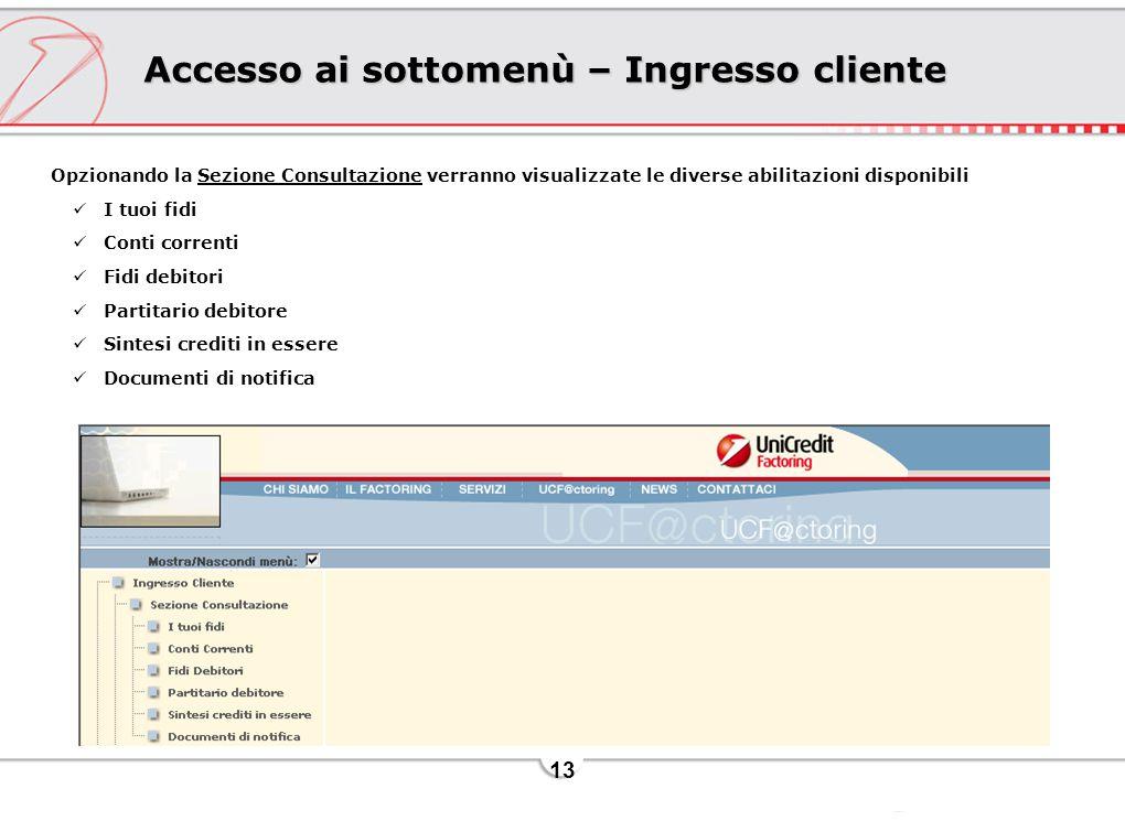 13 Accesso ai sottomenù – Ingresso cliente Opzionando la Sezione Consultazione verranno visualizzate le diverse abilitazioni disponibili I tuoi fidi C