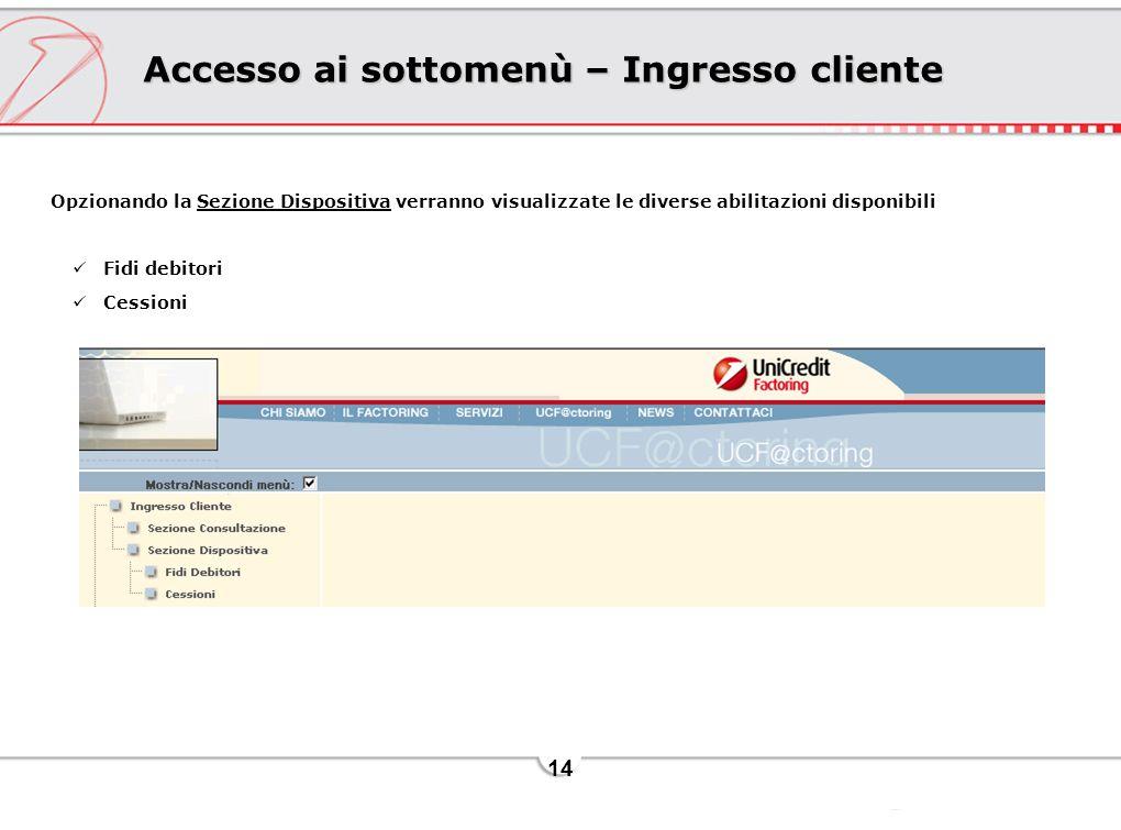 14 Accesso ai sottomenù – Ingresso cliente Opzionando la Sezione Dispositiva verranno visualizzate le diverse abilitazioni disponibili Fidi debitori Cessioni
