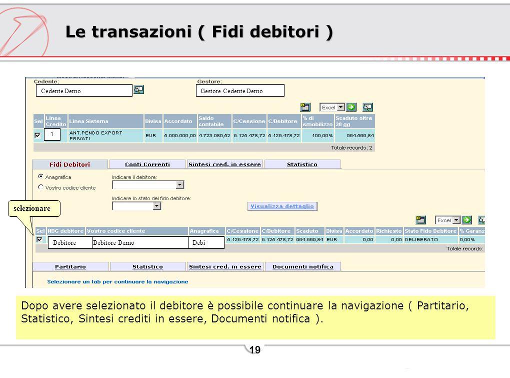 19 Le transazioni ( Fidi debitori ) Dopo avere selezionato il debitore è possibile continuare la navigazione ( Partitario, Statistico, Sintesi crediti in essere, Documenti notifica ).