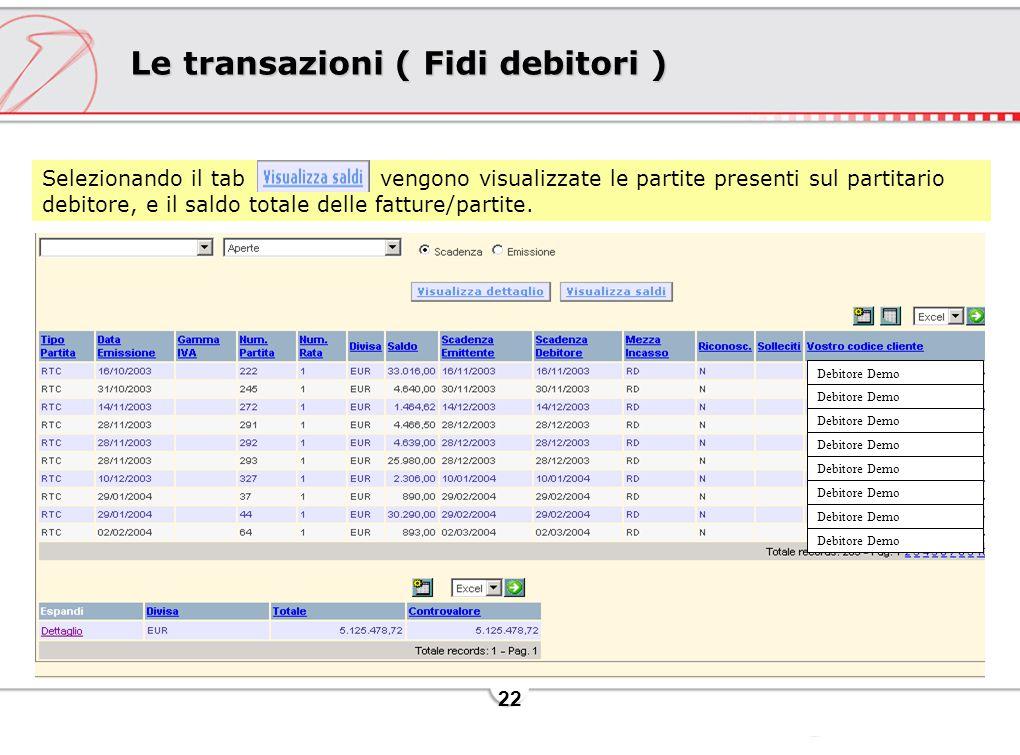 22 Le transazioni ( Fidi debitori ) Selezionando il tab vengono visualizzate le partite presenti sul partitario debitore, e il saldo totale delle fatture/partite.
