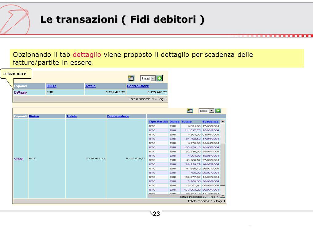 23 Le transazioni ( Fidi debitori ) Opzionando il tab dettaglio viene proposto il dettaglio per scadenza delle fatture/partite in essere. selezionare