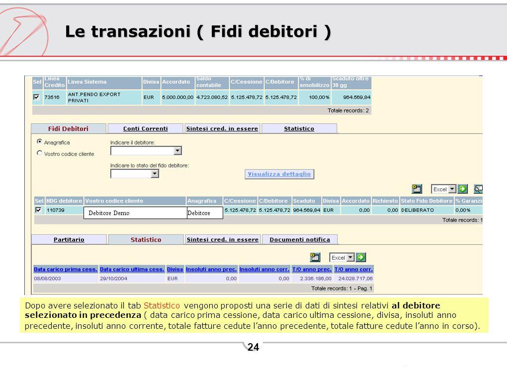 24 Le transazioni ( Fidi debitori ) Dopo avere selezionato il tab Statistico vengono proposti una serie di dati di sintesi relativi al debitore selezi