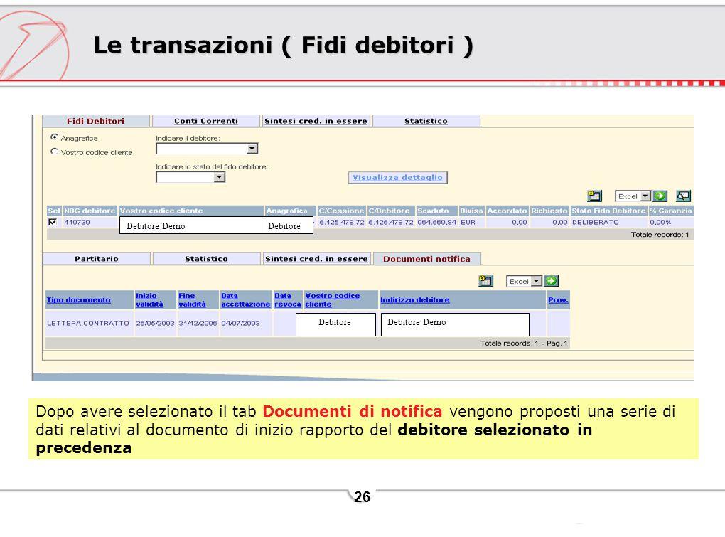 26 Le transazioni ( Fidi debitori ) Dopo avere selezionato il tab Documenti di notifica vengono proposti una serie di dati relativi al documento di inizio rapporto del debitore selezionato in precedenza Debitore DemoDebitore Debitore DemoDebitore