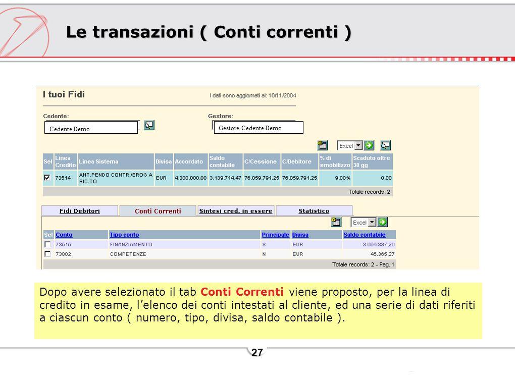 27 Le transazioni ( Conti correnti ) Dopo avere selezionato il tab Conti Correnti viene proposto, per la linea di credito in esame, l'elenco dei conti