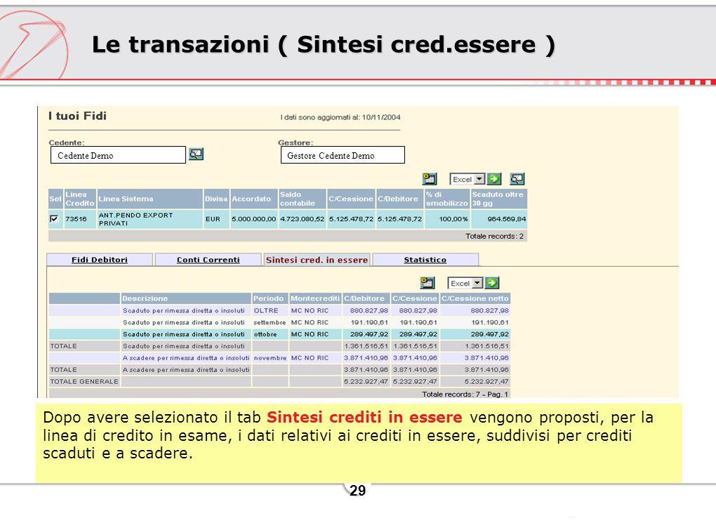 29 Le transazioni ( Sintesi cred.essere ) Dopo avere selezionato il tab Sintesi crediti in essere vengono proposti, per la linea di credito in esame, i dati relativi ai crediti in essere, suddivisi per crediti scaduti e a scadere.