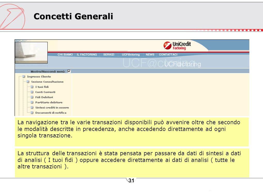 31 Concetti Generali La navigazione tra le varie transazioni disponibili può avvenire oltre che secondo le modalità descritte in precedenza, anche accedendo direttamente ad ogni singola transazione.