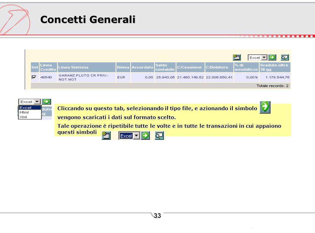 33 Concetti Generali Cliccando su questo tab, selezionando il tipo file, e azionando il simbolo vengono scaricati i dati sul formato scelto. Tale oper