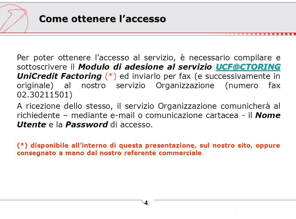 4 Come ottenere l'accesso UCF@CTORING UCF@CTORING Per poter ottenere l'accesso al servizio, è necessario compilare e sottoscrivere il Modulo di adesio