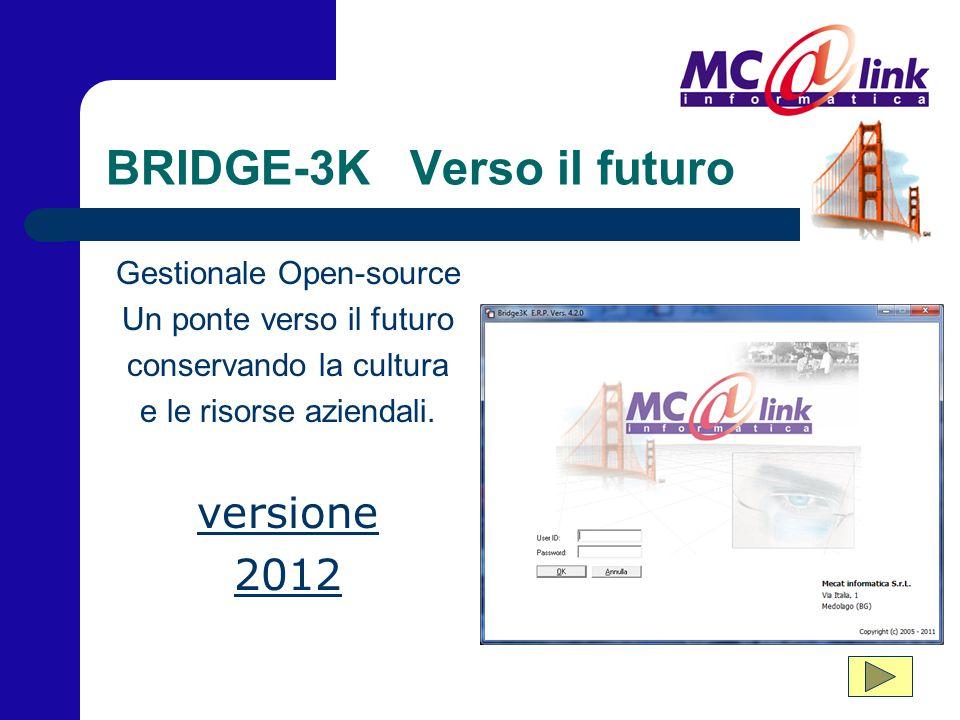 BRIDGE-3K Verso il futuro Gestionale Open-source Un ponte verso il futuro conservando la cultura e le risorse aziendali. versione 2012