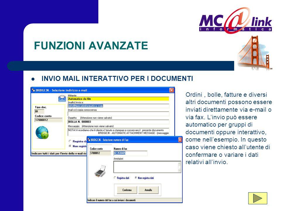FUNZIONI AVANZATE INVIO MAIL INTERATTIVO PER I DOCUMENTI Ordini, bolle, fatture e diversi altri documenti possono essere inviati direttamente via e-ma