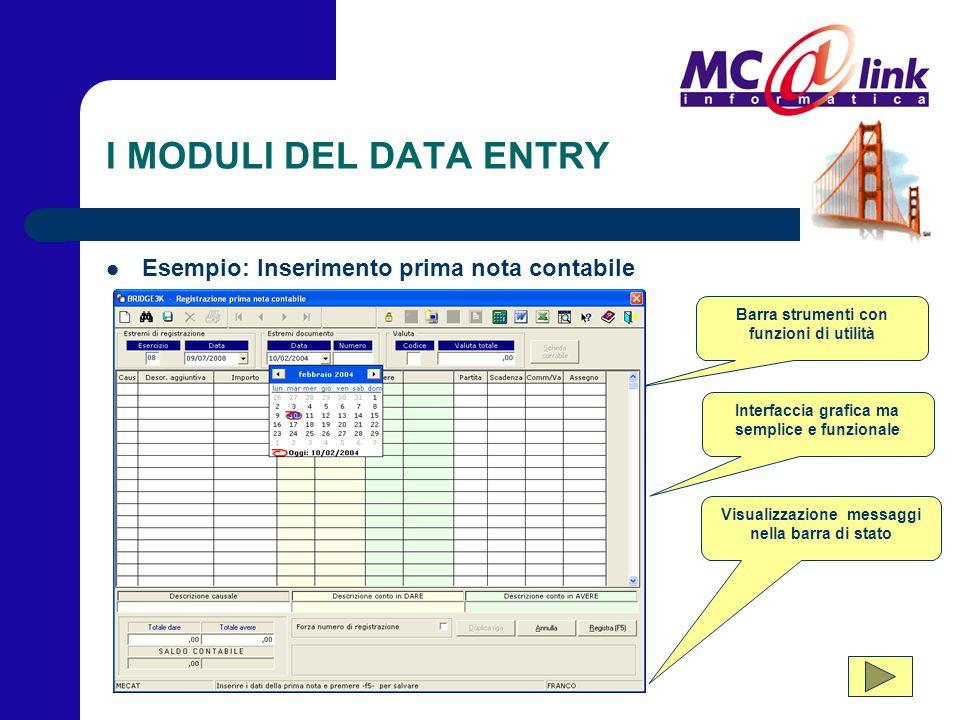 I MODULI DEL DATA ENTRY Esempio: Inserimento prima nota contabile Visualizzazione messaggi nella barra di stato Interfaccia grafica ma semplice e funz