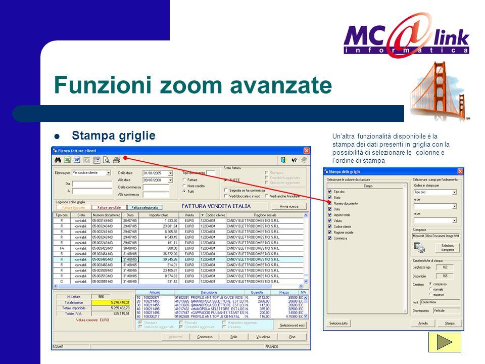 Funzioni zoom avanzate Un'altra funzionalità disponibile è la stampa dei dati presenti in griglia con la possibilità di selezionare le colonne e l'ord