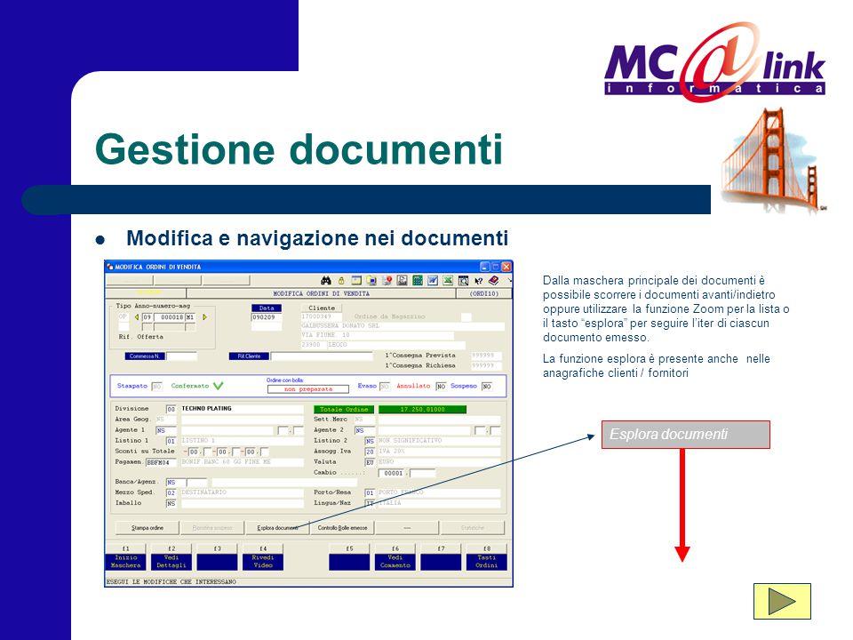 Gestione documenti Dalla maschera principale dei documenti è possibile scorrere i documenti avanti/indietro oppure utilizzare la funzione Zoom per la