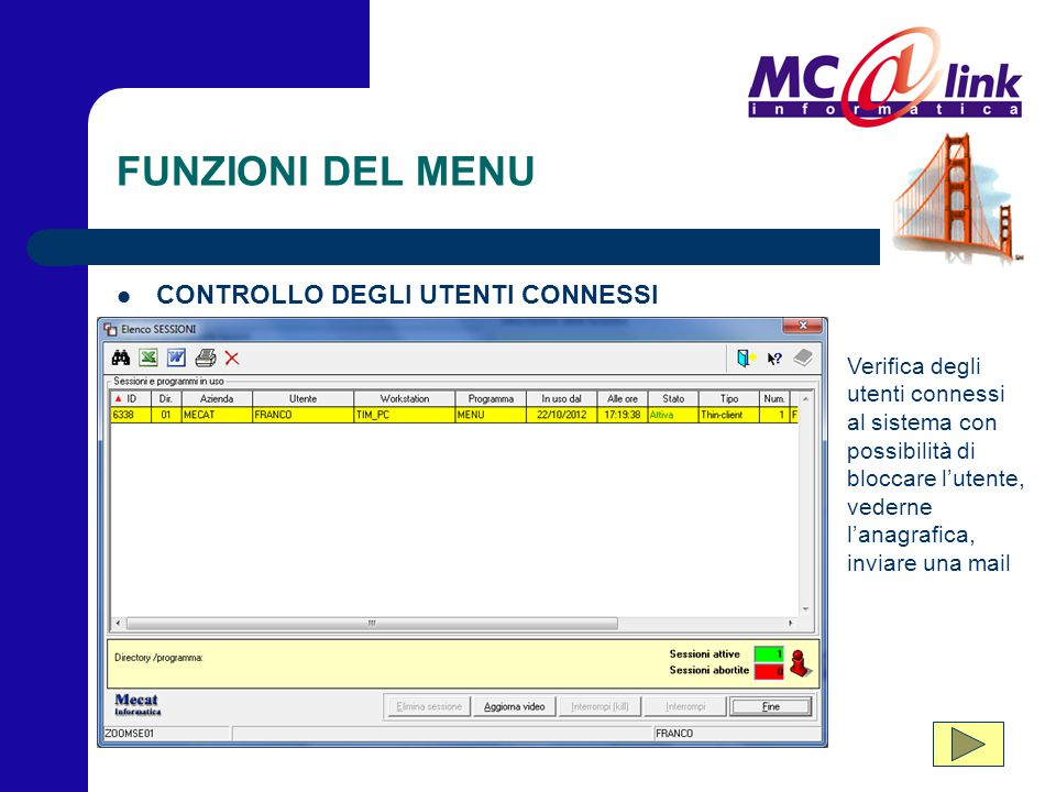 FUNZIONI DEL MENU CONTROLLO DEGLI UTENTI CONNESSI Verifica degli utenti connessi al sistema con possibilità di bloccare l'utente, vederne l'anagrafica
