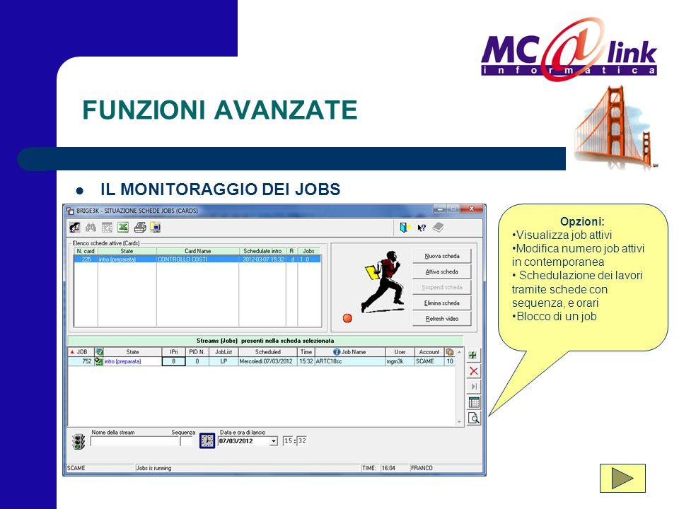 FUNZIONI AVANZATE IL MONITORAGGIO DEI JOBS Opzioni: Visualizza job attivi Modifica numero job attivi in contemporanea Schedulazione dei lavori tramite