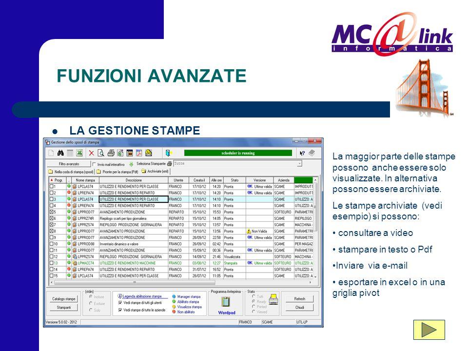 FUNZIONI AVANZATE LA GESTIONE STAMPE La maggior parte delle stampe possono anche essere solo visualizzate. In alternativa possono essere archiviate. L