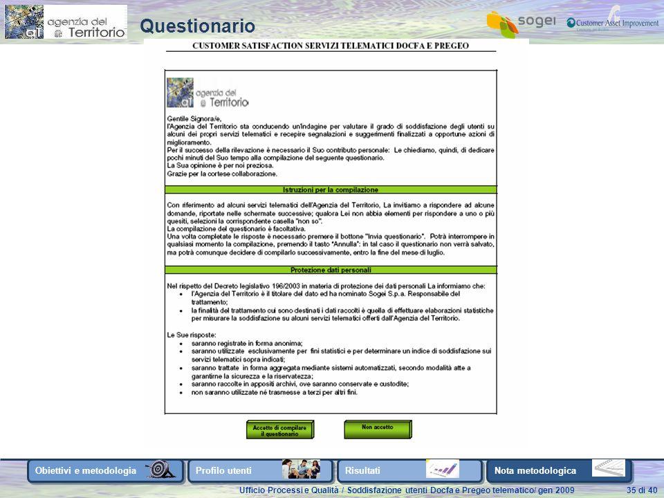 Ufficio Processi e Qualità / Soddisfazione utenti Docfa e Pregeo telematico/ gen 200935 di 40 Obiettivi e metodologia Profilo utenti Risultati Nota metodologica Questionario