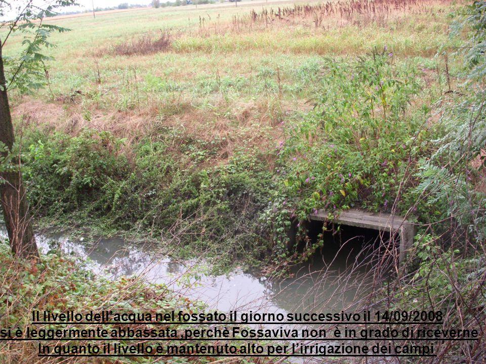 Il livello dell'acqua nel fossato il giorno successivo il 14/09/2008 si è leggermente abbassata,perchè Fossaviva non è in grado di riceverne In quanto