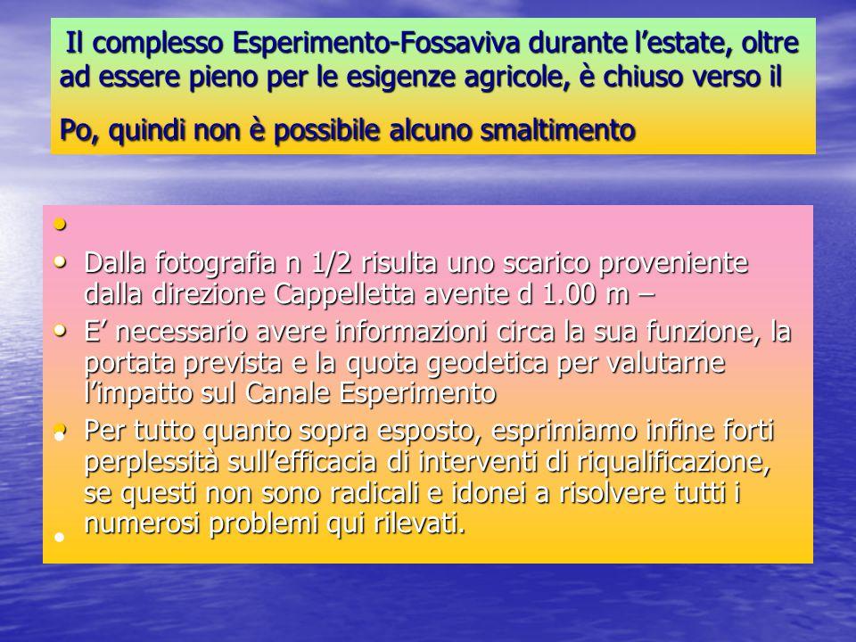 Il complesso Esperimento-Fossaviva durante l'estate, oltre ad essere pieno per le esigenze agricole, è chiuso verso il Po, quindi non è possibile alcu