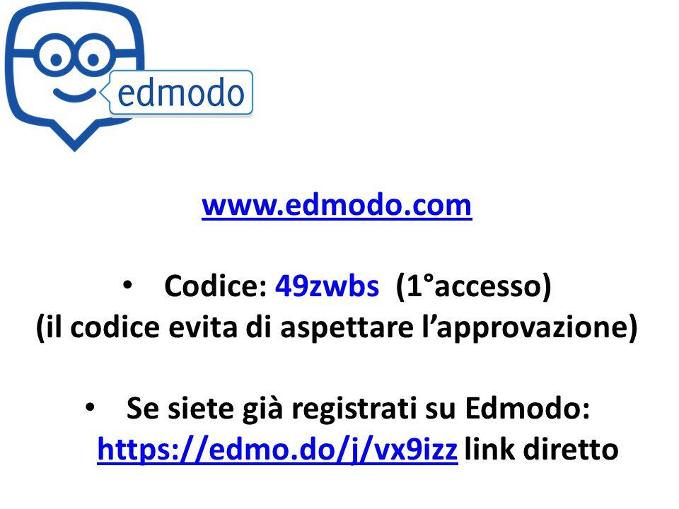 www.edmodo.com Codice: 49zwbs (1°accesso) (il codice evita di aspettare l'approvazione) Se siete già registrati su Edmodo: https://edmo.do/j/vx9izz li